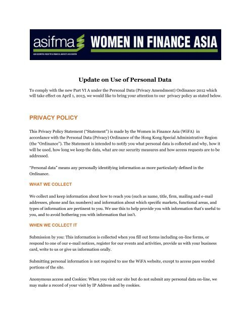 Data Privacy Policy >> Update On Use Of Personal Data Privacy Policy Asifma