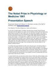 The Nobel Prize in Physiology or Medicine 1961 Presentation Speech