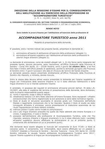 Bando Accompagnatore turistico (pdf) - Provincia di Sondrio