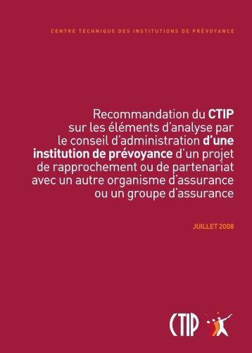 Recommandation du CTIP sur les éléments d'analyse par le conseil ...