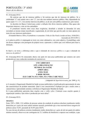 Apostila 1 de Português - Provas diversas| Baixe aqui - liceu.net