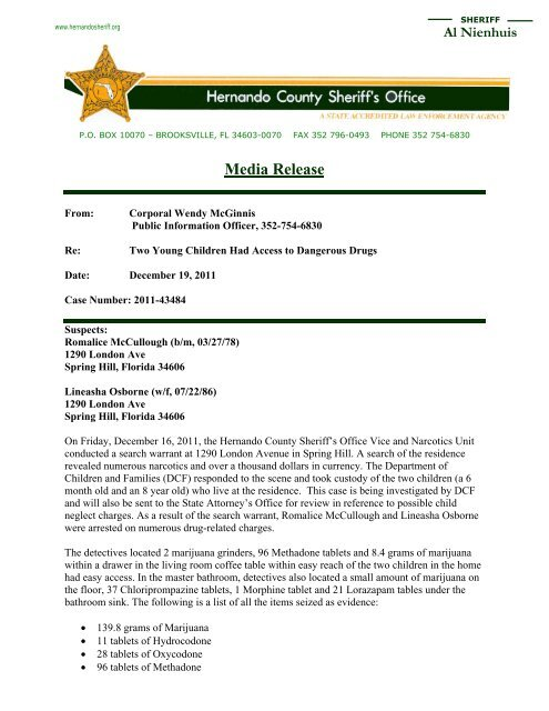 London Ave Search Warrant - Hernando County Sheriff's Office