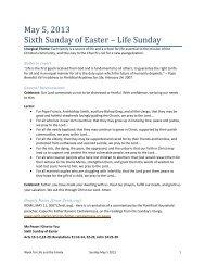 May 5, 2013 Sixth Sunday of Easter – Life Sunday