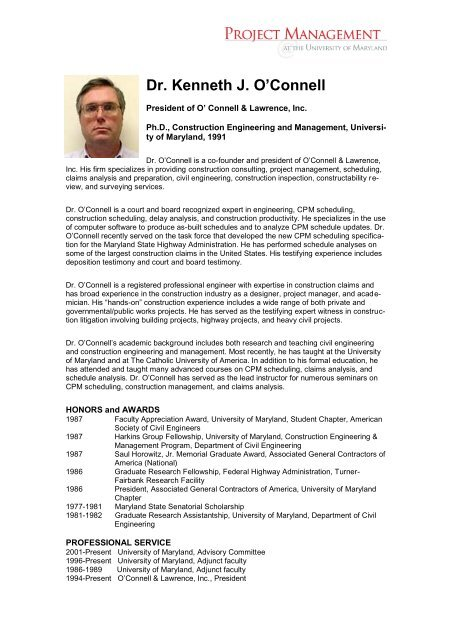 Resume - Project Management at the University Of Maryland