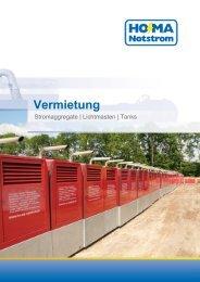 Stromaggregate, Kraftstofftanks und Lichtmasten - HO-MA-Notstrom