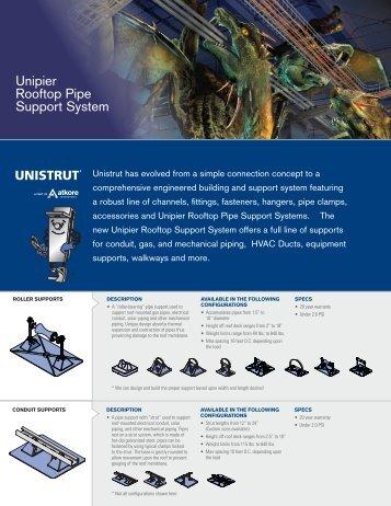 Unipier Rooftop Pipe Support System - Unistrut