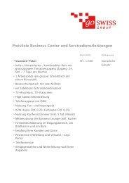 Preisliste Business Center und Servicedienstleistungen