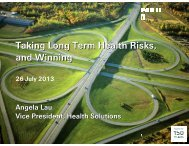 Taking Long Term Health Risks, and Winning - Actuarial Society of ...