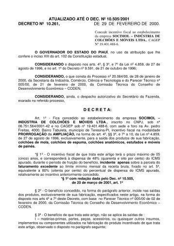 ATUALIZADO ATÉ O DEC. Nº 10.505/2001 DECRETO Nº 10.261 ...