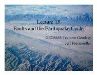 15. Description of faults; Earthquake cycle - Jeff Freymueller