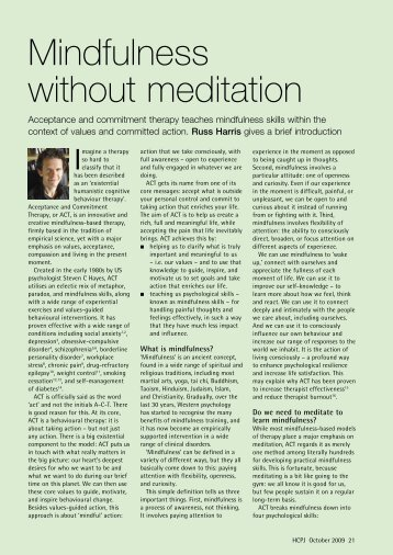 Mindfulness without meditation - ACT Mindfully