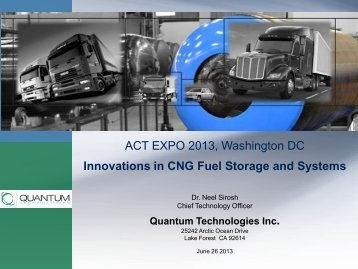 ACT EXPO 2013, Washington DC Innovations in CNG Fuel Storage ...