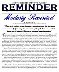 Reminder for week of 06/05/11 - South Height Baptist Church