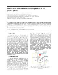 Pulsed laser ablation of silver: ion dynamics in the ... - ResearchGate