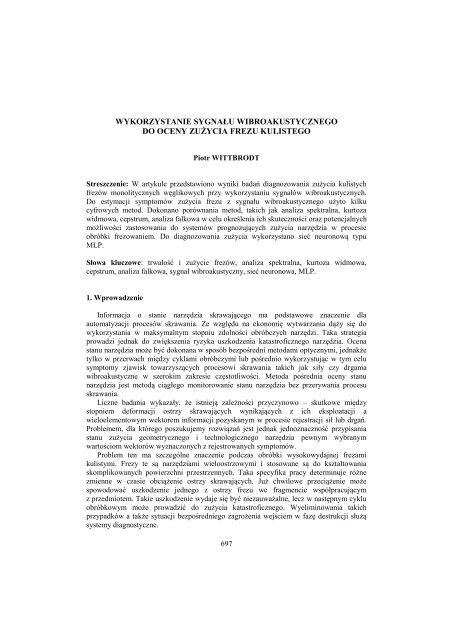 wykorzystanie sygnału wibroakustycznego do oceny zużycia ... - PTZP