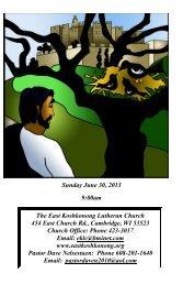 Sunday, June 30, 2013 - Eastkoshkonong.org