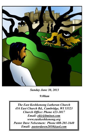 Sunday, June 30, 2013 - Eastkoshkonong.org