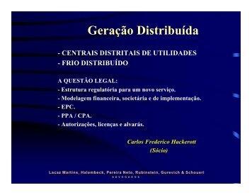 Geração Distribuída - Centrais distritais de utilidades e Frio - INEE