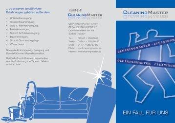 EIN FALL FÜR UNS - CleaningMaster GmbH