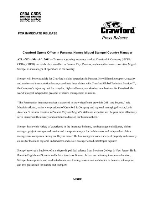 Crawford Opens Office in Panama, Names Miguel Stempel