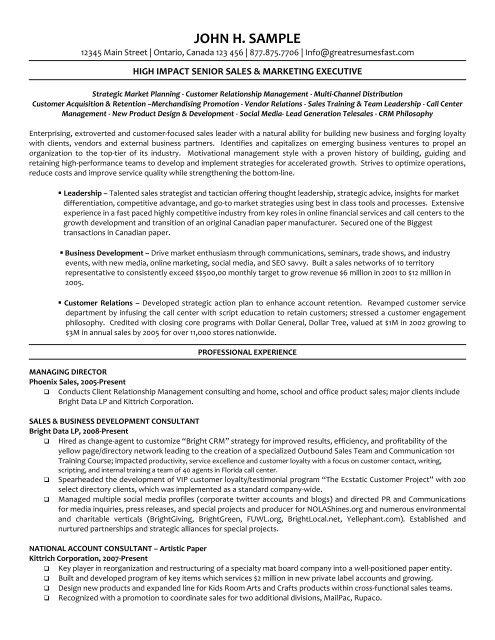 Executive Managing Director Resume Pdf Version Workbloom