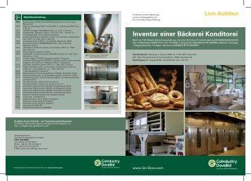 Inventar einer Bäckerei Konditorei