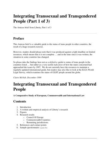 Integrating Transsexual and Transgendered People (Part 1 of 3 ...