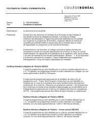 Certificats et diplômes - Collège Boréal