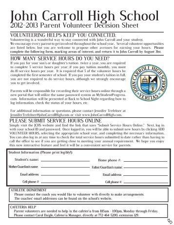 Parent Volunteer Form - John Carroll Catholic High School