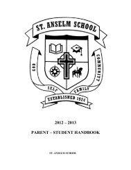 2012 – 2013 PARENT – STUDENT HANDBOOK - St. Anselm School