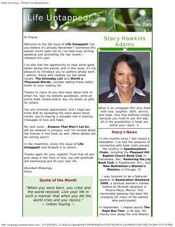 November 2009 Life Untapped Update - Stacy Hawkins Adams