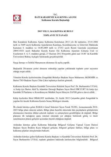 kalkınma ajansı kalkınma kurulu sonuç bildirgesi - Batı Karadeniz ...