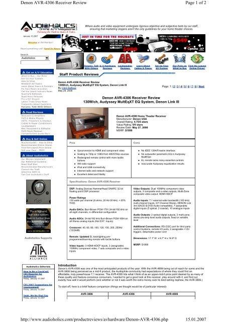 b1534c0fd Page 1 of 2 Denon AVR-4306 Receiver Review ... - Hi-Fi Klubben