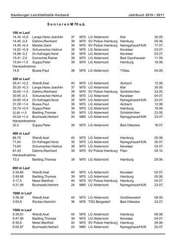 S e n i o r e n M 70 u.ä. - Hamburger Leichtathletik-Verband