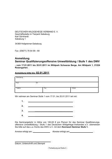 Anmeldung zum Seminar 1 der Stufe I im Wildpark Schwarze Berge ...