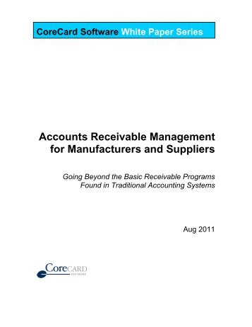Accounts Receivable Management for Manufacturers and Suppliers ...