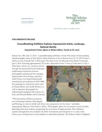 Impressionist France to Open at Nelson-Atkins - The Nelson-Atkins ...