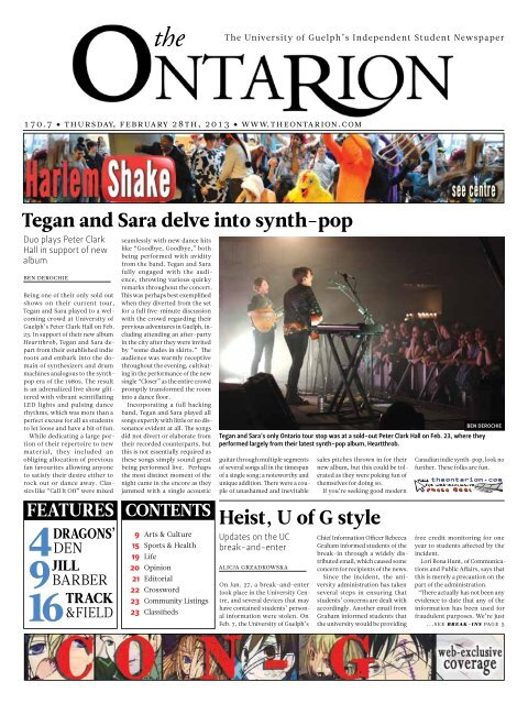 tegan and sara delve into synth-pop Heist, u of G style - The Ontarion