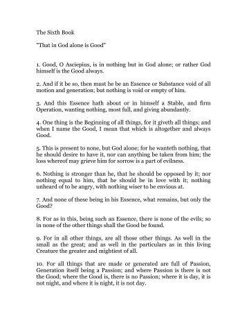 hermes trismegistus, book 6 - Holy Order Golden Dawn