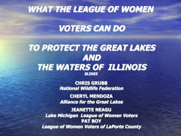 what the league of women voters can do to protect the great lakes ...
