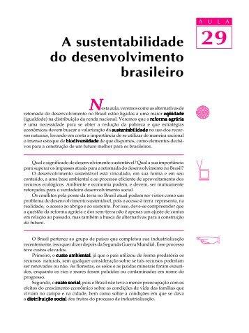 29. A sustentabilidade do desenvolvimento brasileiro - Passei.com.br