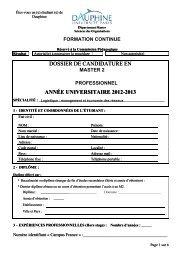 dossier de candidature en année universitaire 2012-2013 dossier ...