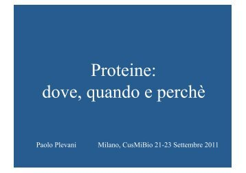 Proteine: dove, quando e perchè - CusMiBio