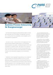 Business-Process-Outsourcing für Energieversorger - C.PARS GmbH