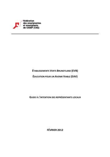 Guide Établissements verts Bruntland - Fédération des ...