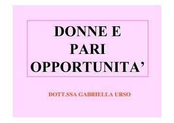 """Prof.ssa G. Urso - """"Donne e pari opportunità """" - Facoltà di Scienze ..."""
