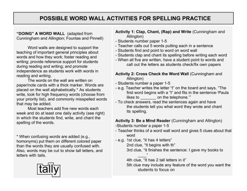 possible word wall activities for spelling practice