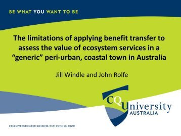 The limitations of applying benefit transfer to assess the value of ...