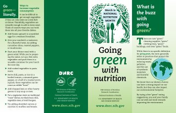 Going Green with Nutrition - NIH Division of Nutrition Research ...