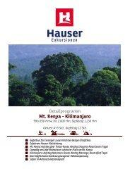 Mt. Kenya - Kilimanjaro - Hauser exkursionen